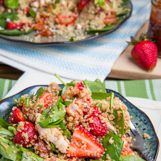 Strawberry BBQ Chicken Spinach and Quinoa Salad with Bacon, Avocado and Goat Cheese