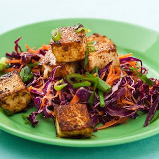 Sweet and Spicy Grilled Tofu with Cabbage-Carrot Slaw