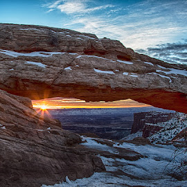 Mesa Arch Sunrise on a 5 degree morning in December by Brent Morris - Landscapes Sunsets & Sunrises (  )