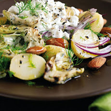 Potato, smoked almond and artichoke BBQ salad