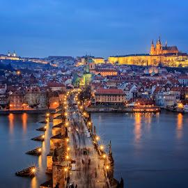 Magical Prague by Petr Kubat - City,  Street & Park  Historic Districts ( vltava, czech, hradcany, bridge, charles, praha, prague )