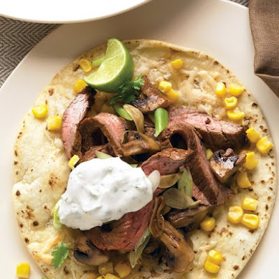 Steak Tostadas with Cilantro Sour Cream