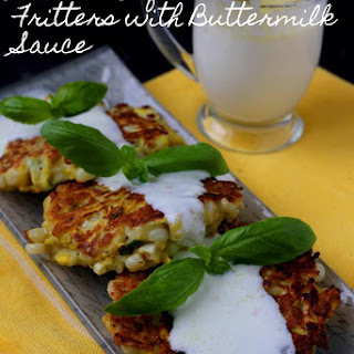 Summer Squash & Corn Fritters with Buttermilk Sauce