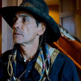 Salish Indian by Barbara Brock - People Portraits of Men ( modern american indian, american indian man, native american man,  )