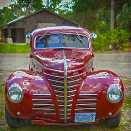 Streetrod Hear Me Roar by Judy Hall-Folde - Transportation Automobiles ( car, mirrors, grill, bright, 1939, plymouth, automobile, windows, fenders, red, headlights, hotrod, auto, streetrod, shiny )