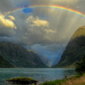 High above by Rune Askeland - Landscapes Mountains & Hills ( clouds, mountains, lake, rainbow, rain,  )