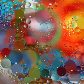 Floating Oil Colors by Janet Herman - Abstract Macro ( water, abstract, macro, colors, floating, reflections, oil )