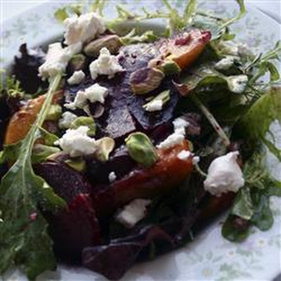 Roasted Beet, Peach and Goat Cheese Salad
