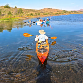 Stillness Of Kayaking by Kathy Suttles - City,  Street & Park  City Parks ( water, boat, people )