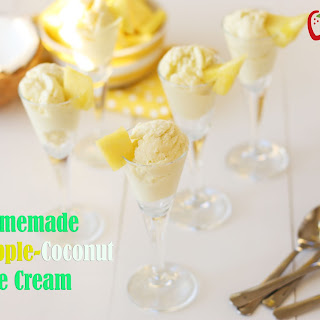 Homemade Pineapple Coconut Ice Cream {Dairy Free}