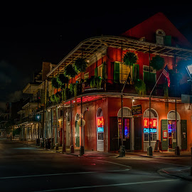 New Orleans After Dark by Sheldon Anderson - City,  Street & Park  Street Scenes ( street corner, new orleans, hdr, night photography, dramatic, french quarter, street lamp, street photography, nightscape )