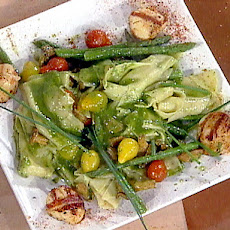 Grilled Sea Scallops with Pasta Rags, Homemade Pesto, Current Tomatoes, Fresh Asparagus and Chantrelle Mushrooms