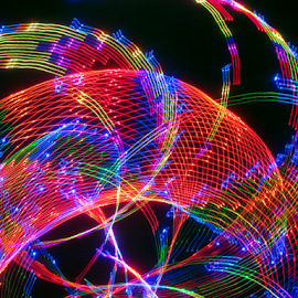 Light fiber. by Jim Barton - Abstract Patterns ( laser light, colorful, light design, laser design, light fiber, laser, fiber, light, science )