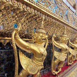 Exploring Bangkok by Kaye Stansbury - Buildings & Architecture Architectural Detail ( bangkok, detail, grand palace, warriors, thailand, gold, demon )