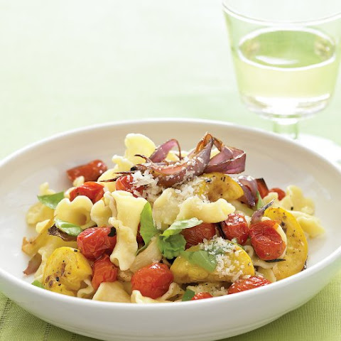 Pasta with Roasted Summer Vegetables and Basil