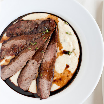 Flank Steak with Balsamic-Port Reduction and Goat Cheese Polenta
