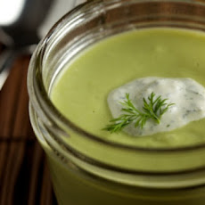 Edamame and Pea Soup with Herbed Lemon Cream