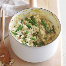 Risotto with Leeks and Sugar Snaps