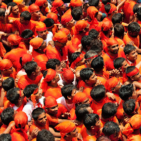 Crowd of GOVINDA by Thakkar Mj - People Street & Candids ( orange, ahmedabad, govinda, gujarat, rathyatra, india, crowd, people, humanity, society )