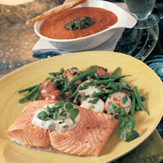 Poached Salmon Fillets with Watercress Mayonnaise