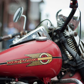 This one's for my dad... by Pascale Chénier - Transportation Motorcycles ( old, red, motor )