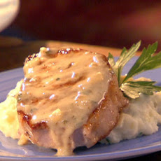 Pork Chops in Creamy Champagne Sauce with Rustic Garlic Mashed Potatoes