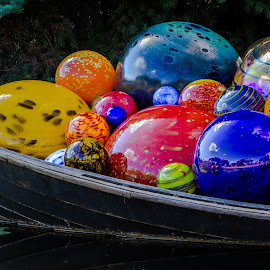 Chihuly Balls in a Boat by Nancy Young - Artistic Objects Glass ( chihuly, botanic gardens, 2014, art, denver, glass, pond )