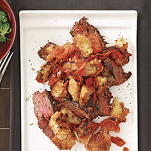 Grilled Garlic Skirt Steak with Bread Salad
