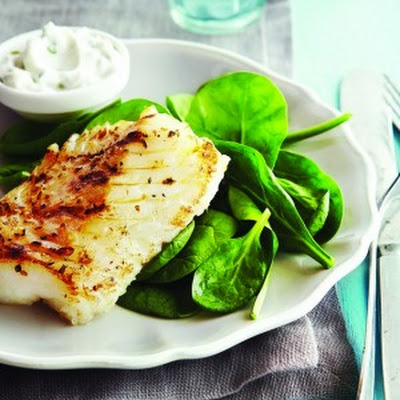 Greek-Style Grilled Fish with Cucumber Mint Yogurt
