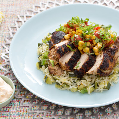 Blackened Chile-Dusted Chicken with Zucchini Rice Pilaf & Corn-Tomato Salsa