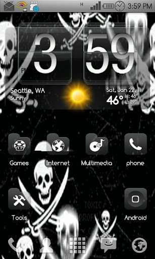 BW Skulls Live Wallpaper