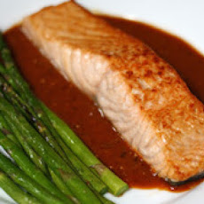 Broiled Salmon and Asparagus with Guajillo-Tomatillo Sauce