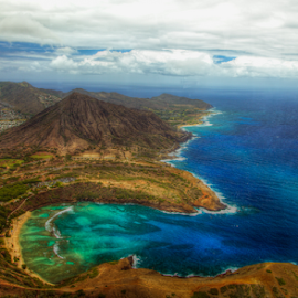 Oahu Aerial view by Leah Varney - Landscapes Travel ( beaches, mountains, waterscape, landscapes, ocean view )