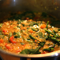 Red Lentil, Tomato and Spinach Soup