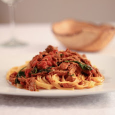 """Freestyle"" Pork Tenderloin and Red Wine Tagliatelle"