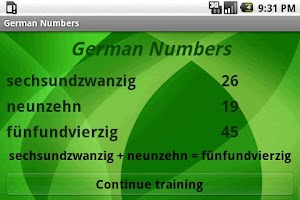 Screenshot of Learn German Numbers