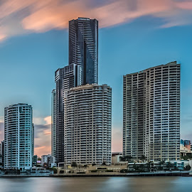 brisbane sunset panorama by Yun Sheng Yip - City,  Street & Park  Skylines ( skyline, queensland, sunset, australia, brisbane, longexposure, panorama )