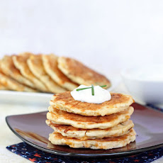 Cheddar Corn Cakes with Green Onion Sour Cream