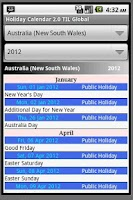 Screenshot of Holiday Calendar 2011-2012