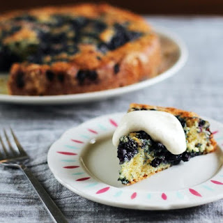 Lemon-Blueberry Yogurt Cake with Lemon Cream