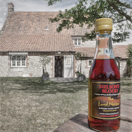 The beer garden of the Lord Nelson pub, Burnham Thorpe by Roy Branford - Food & Drink Alcohol & Drinks ( alcohol, burnham thorpe, artistic, lord nelson, bottle, topaz labs, pub, photoshop )