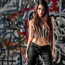 Isabel Izzy Martinez by Charles Lugtu - People Portraits of Women ( badass, color, vandalism, graffiti, long hair, woman, fierce, portrait )