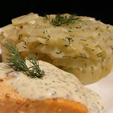 Saucy Salmon, Fennel and Potato Gratin Dauphinoise