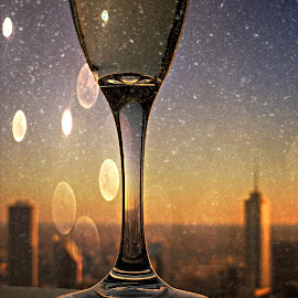 Sky High Cheers in the Windy City by Tricia Scott - Food & Drink Alcohol & Drinks ( champagne, sky, winter, alcohol, drink, snow, cheers, toast )