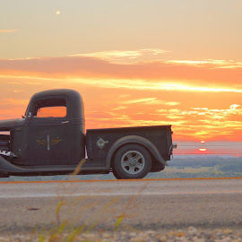 Sunset on the side of the road by Kevin Dietze - Transportation Automobiles ( rat rod, cruise night, sunday drive, sunset, hot rod tour )