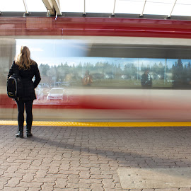 Waiting by Shelly Priest - Transportation Trains ( speed, calgary, lrt, train, blur )