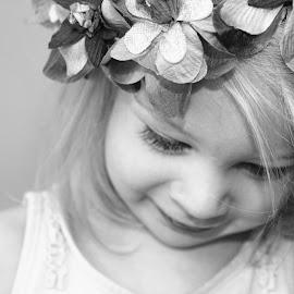 Petal Power Bw by Kelly Murdoch - Babies & Children Children Candids ( model, girl, ztam photography, female, petals, headress, iow, toddler, head, flowers, ztam )