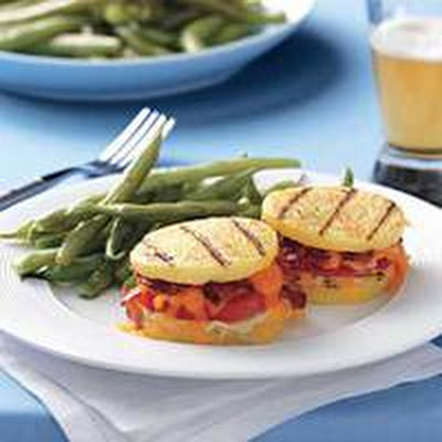 Bacon, Cheese and Tomato Polenta Sandwiches with Green Beans