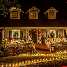 Southern Living Christmas by Michele Dan - Buildings & Architecture Homes ( home, night photography, christmas lights, christmas, homes, nightscape )