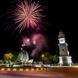 Happy Malaysia Day! by Chin Fei Ng - Abstract Fire & Fireworks ( fireworks; clock tower; night; roads; light trails )